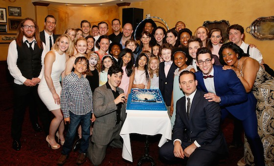 The Matilda The Musical US Tour company pose during the party for the opening night performance at the Ahmanson Theatre on June 7, 2015, in Los Angeles. (Photo by Ryan Miller/Capture Imaging)