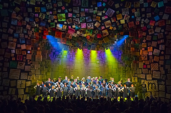 Tim & Dennis Kelly join the Sydney Opening Night curtain call in the Matilda pose. Photo by James Morgan