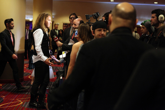 Opening night on Broadway. Tim faces the media. Photo by Ellie Kurttz