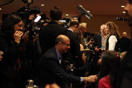 Opening night on Broadway. Dennis Kelly and Tim answer to the press. Photo by Ellie Kurttz