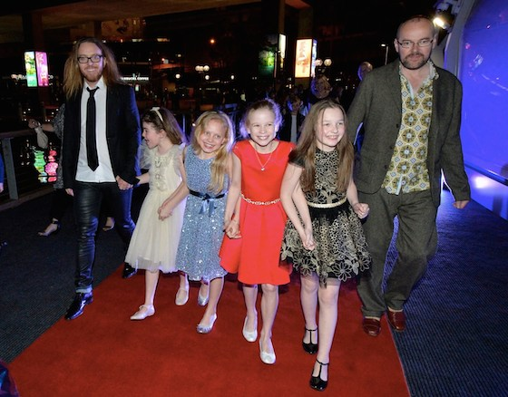 Tim, Dennis Kelly and the Australian Matildas walk the red carpet on the way to the after-party. (Photo by James Morgan) width=
